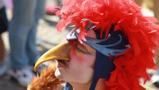 animazioni e spettacoli per matrimoni con un artista che porta una maschera veneziana da gallo
