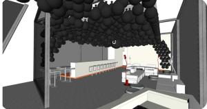 progetto a computer di un soffitto pieno di palloni neri