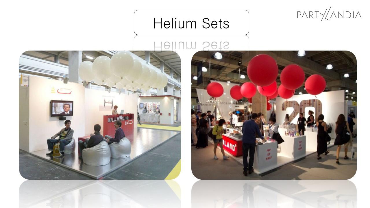 esempi di stand con palloni bianchi e rossi sospesi