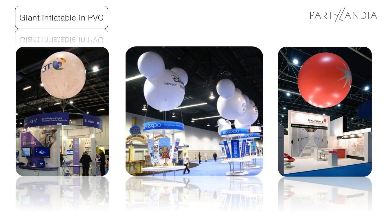 proposta di scenografie per stand fieristici con palloni giganti in pvc argentati