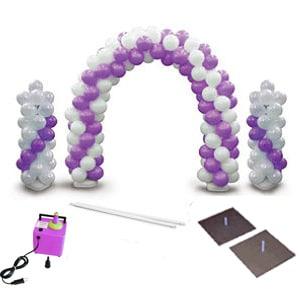 kit arco o colonne di palloncini esempio in bianco e viola