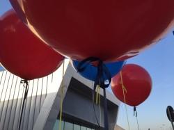 Particolare palloni giganti blu e rossi ad elio