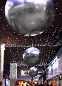 sfere giganti argento metallizzato